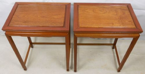 Pair Japanese Teak Wood Table Stands